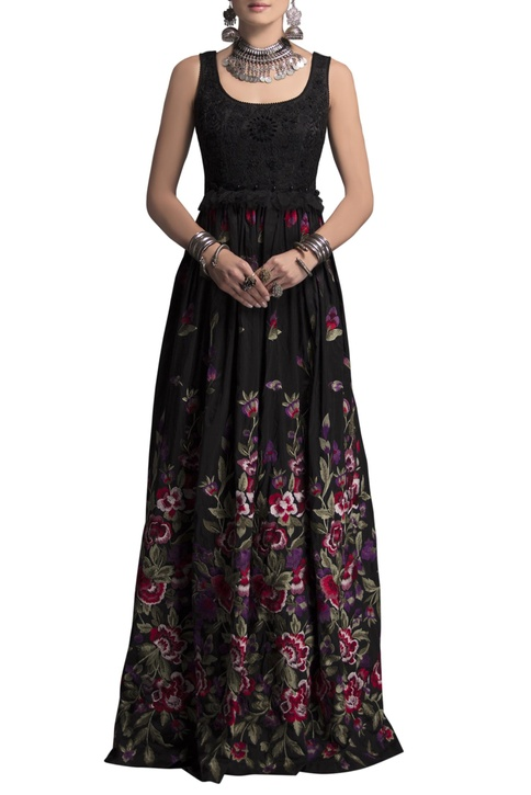 Black taffeta embroidered gown