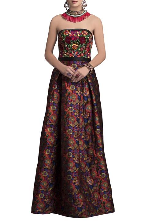 Multicolored bustier brocade gown