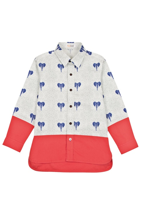 White & red elephant motif shirt