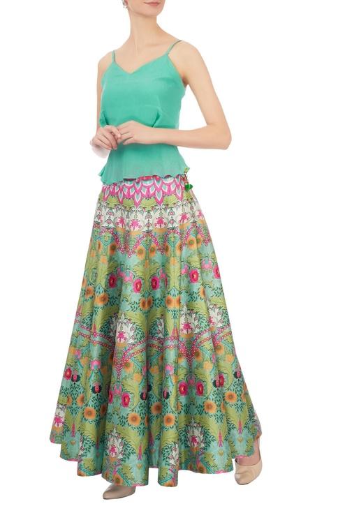 Pink & green dupion silk paneled maxi skirt