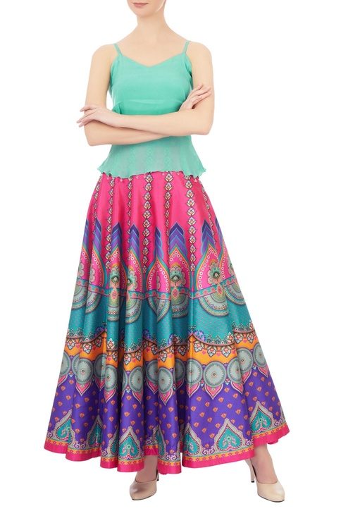 Pink & purple printed dupion silk maxi skirt