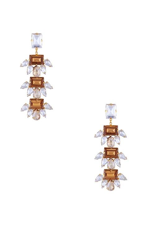 Rose gold polished & swarovski, epoxy crystal earrings