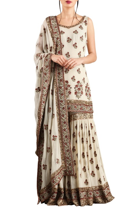 Off white chiffon floral sequin embroidered sharara & kurta set