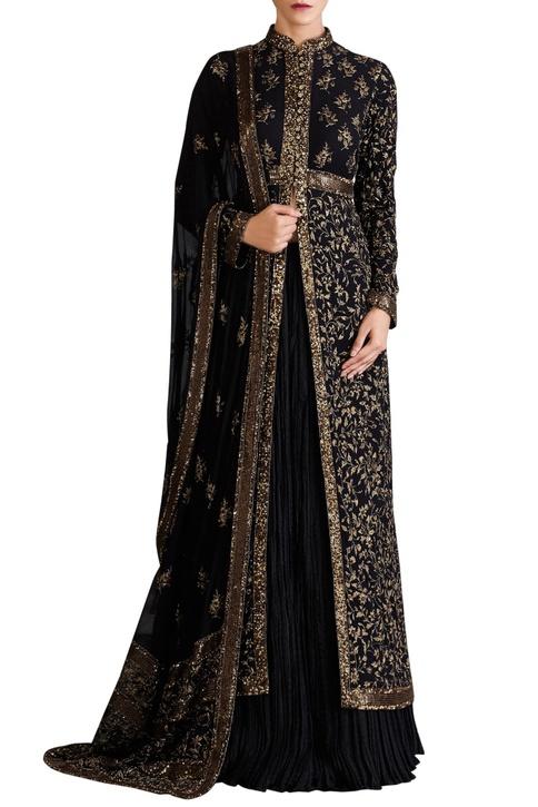 Black chiffon jaal zari embroidered jacket set
