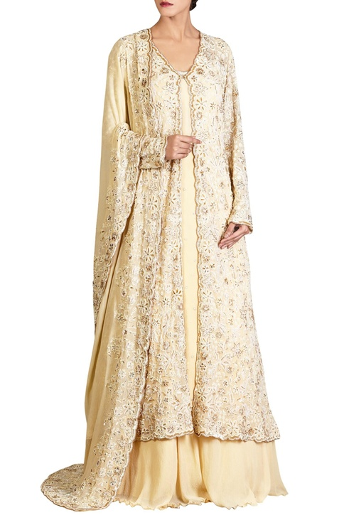 Yellow lucknowi thread & pearl embroidered chiffon jacket set