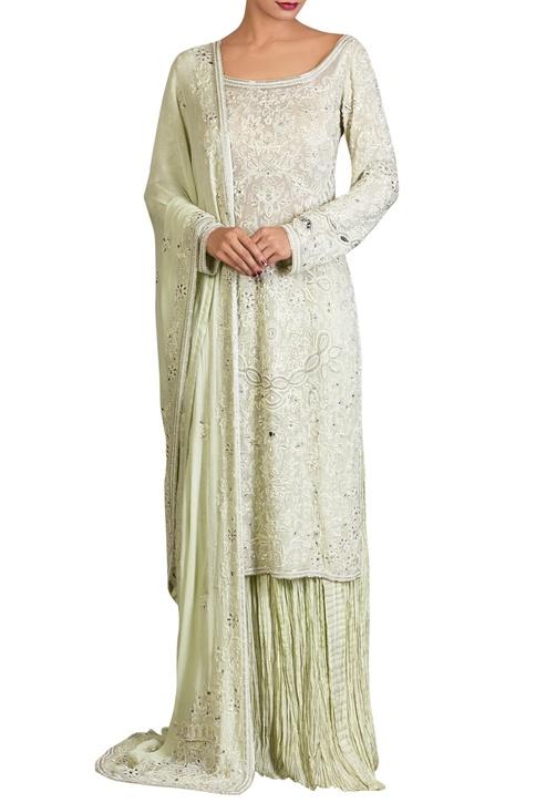 Mint green pearl embellished lucknowi threadwork kurta set