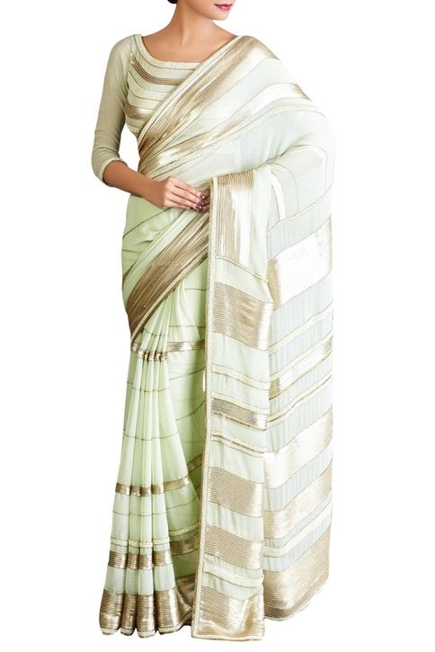 Mint green sequin embellished sari with blouse