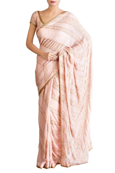 Pastel pink stripe motif sequin sari with blouse