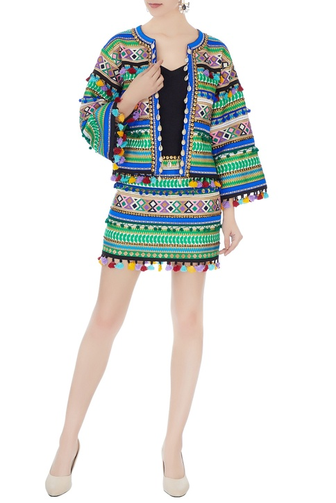 Multicolored ikat dyed mini skirt