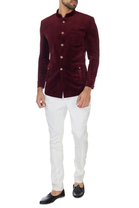 Ivory cotton lycra jodhpuri pants