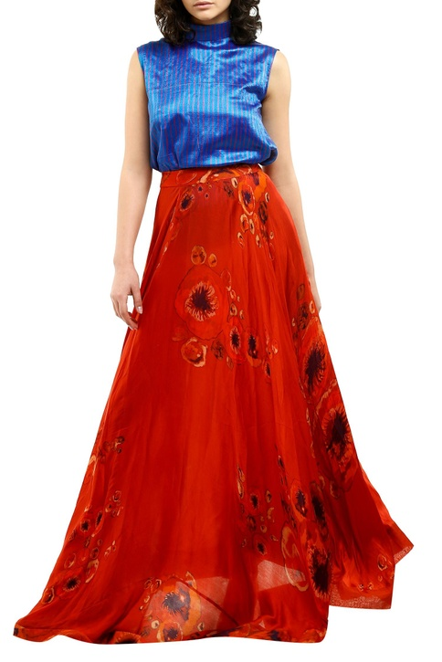 Red cotton silk printed maxi skirt