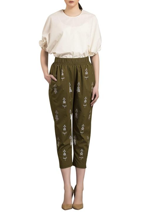 Olive green poplin elasticized cropped pants