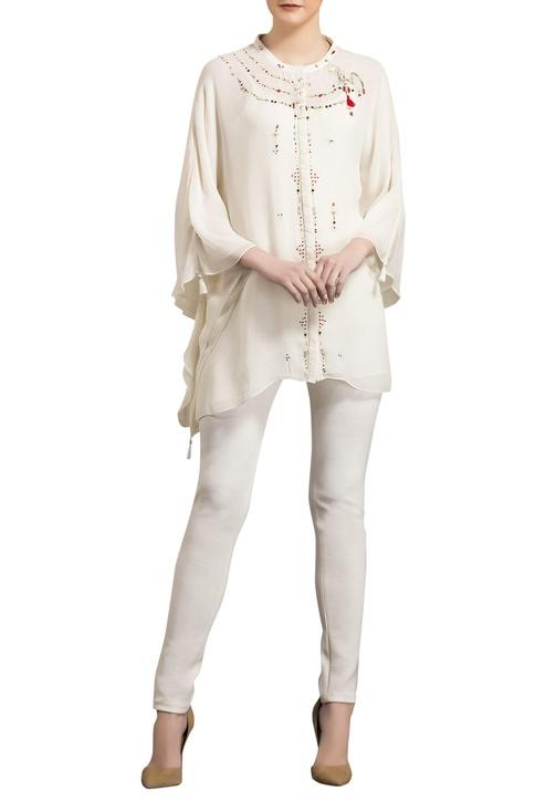 Ivory georgette asymmetric blouse with kaftan sleeves