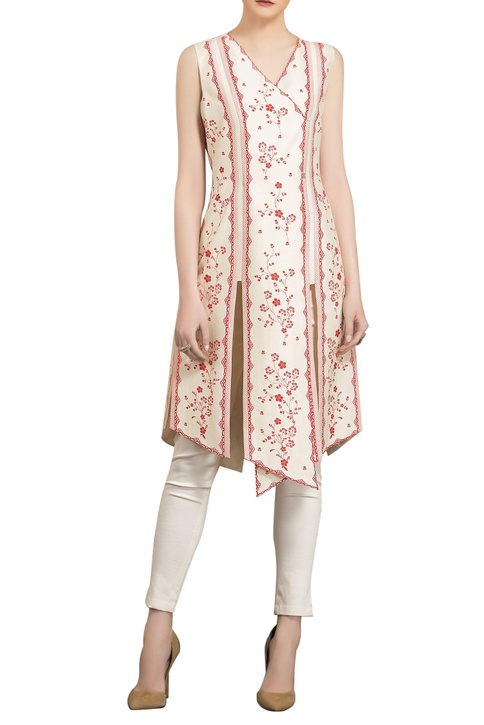 Ivory & red chanderi floral digital printed asymmetric tunic with straight pants
