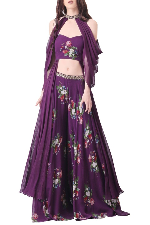 Purple georgette embroidered palazzo set with cape