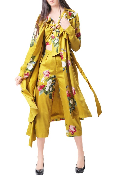 Mustard modal satin printed trench coat