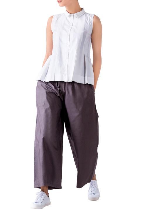 Charcoal grey poplin palazzo pants