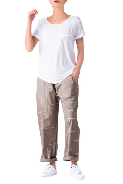 Sage green grid printed poplin pants