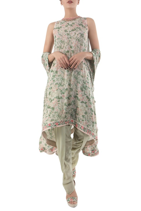 Antique jade crepe hand painted blouse & dhoti pants with dupatta
