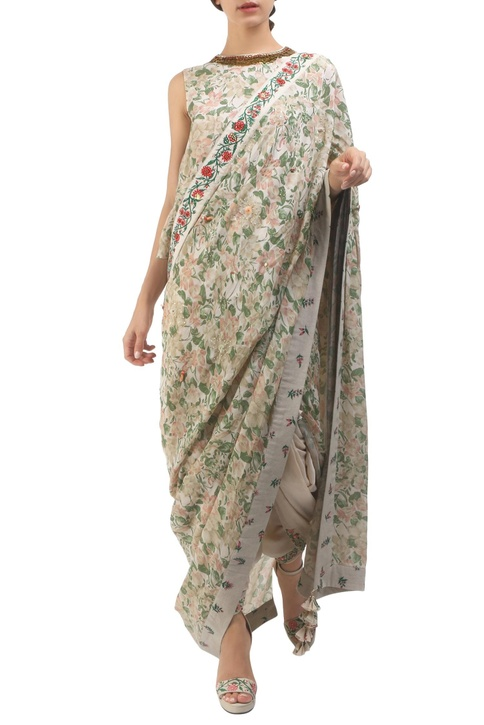 Grey crepe hand painted dhoti sari with blouse