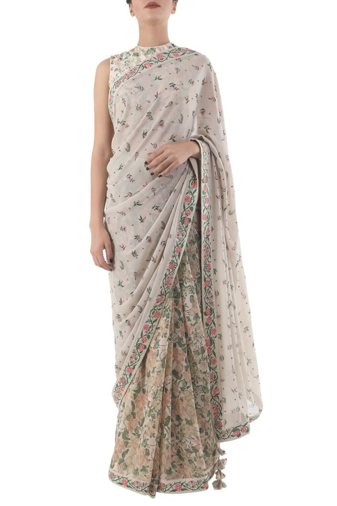 Grey georgette hand painted sari with blouse