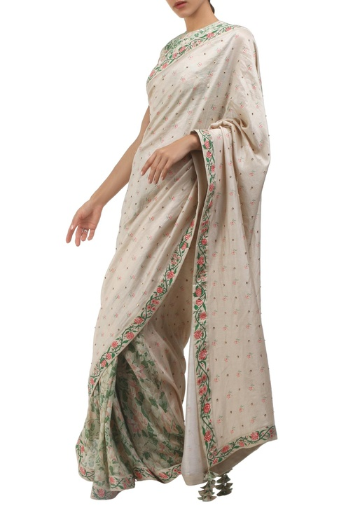 Grey cotton hand painted sari with blouse