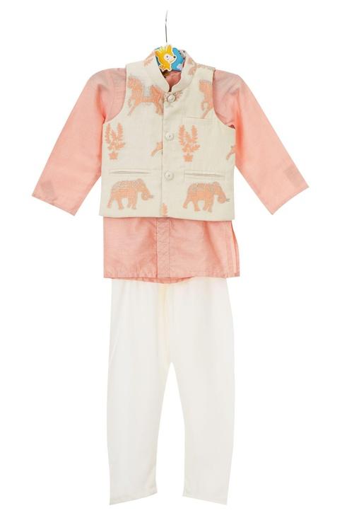 Peach shirt style kurta with off-white churidar