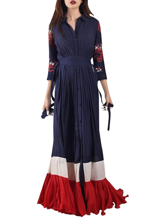 Midnight blue & red maxi dress with pleated hemline