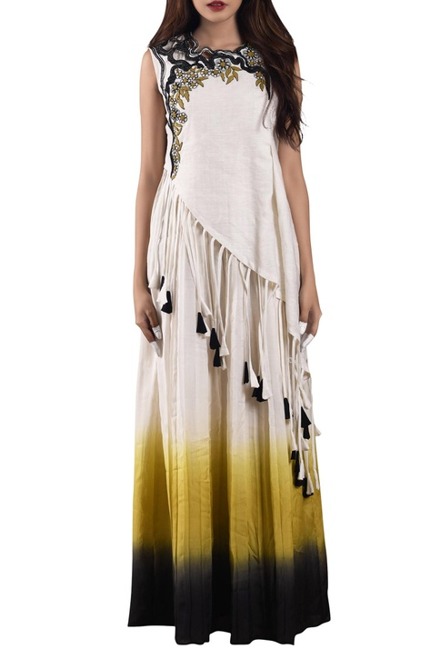White & yellow ombre dress with asymmetric top