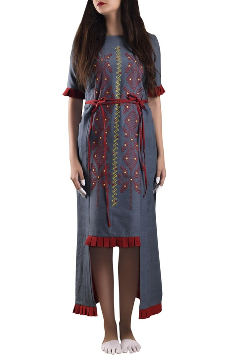 Blue hand-woven khadi shift dress