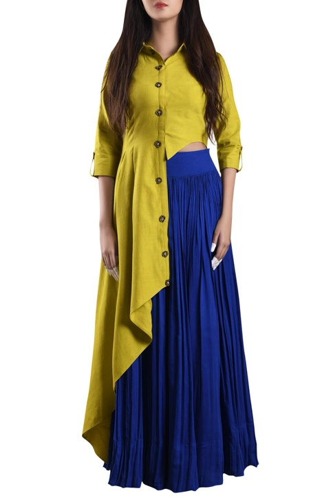 Banana yellow hand-woven asymmetric shirt with blue skirt