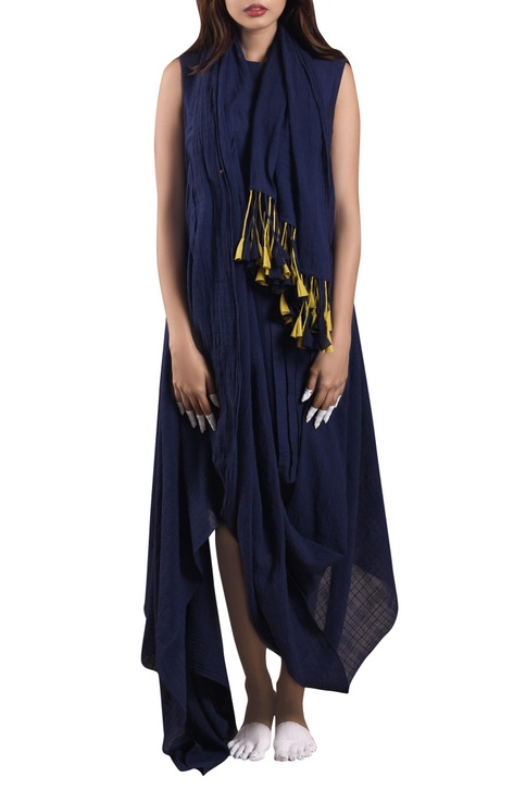 Midnight blue hand-woven dress with scarf