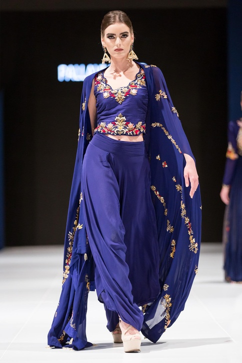 Midnight blue resham embroidered crop top with pants & cape