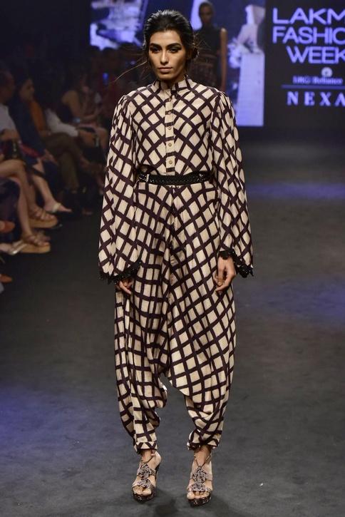 Black & beige modal silk printed shirt with dhoti pants & belt