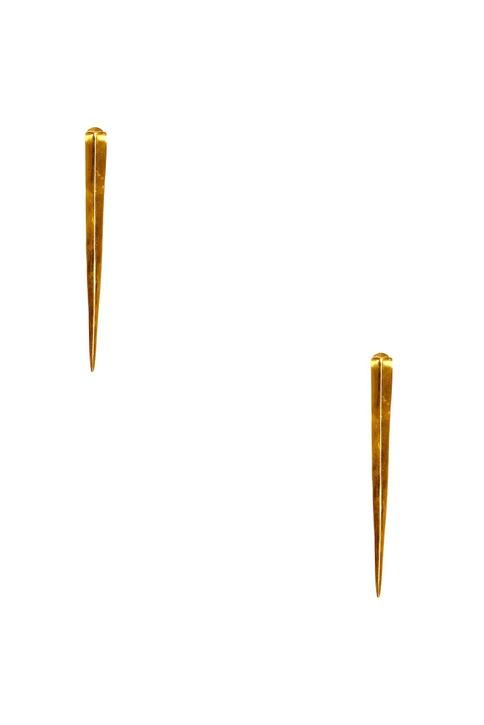 Gold plated spike long earrings