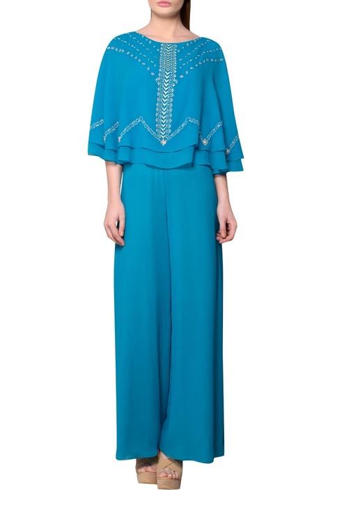 Teal blue viscose georgette cape jumpsuit