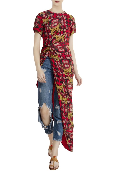 Red crepe tiger & lily print blouse