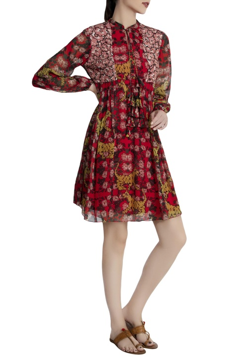 Red georgette tiger & lily printed dress