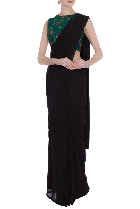 Green handloom cotton butterfly printed sleeveless blouse