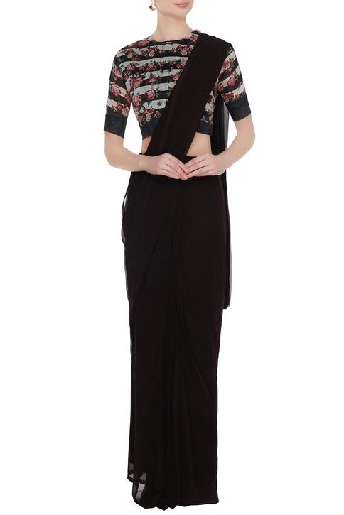 Multicolored stripe & rose printed silk linen saree blouse