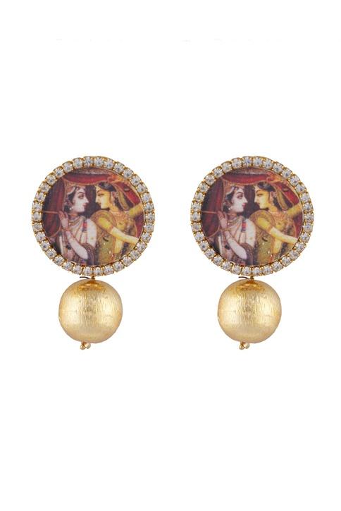 Multi-colored alloy radha krishna photo studed earring