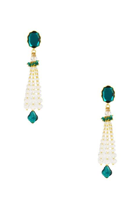 Green emerald swarovski Tarun Tahiliani tassel earrings