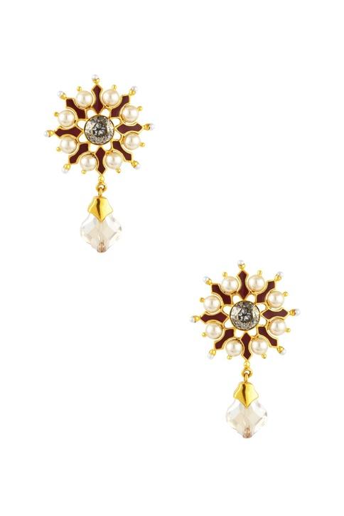 Gold plated Tarun Tahiliani floral drop earrings