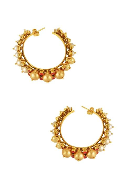 Gold plated Tarun Tahiliani maroon swarovski & pearl hoop earrings