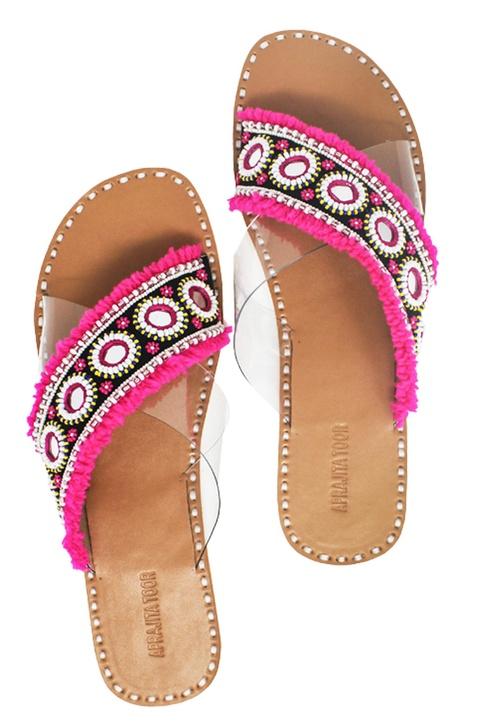 Pink & black tassel & bead embellished criss-cross strap sandals