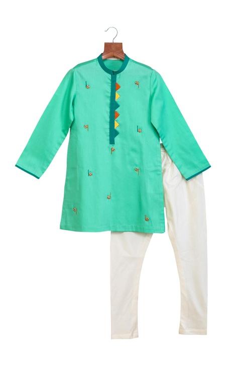 Sea green cotton silk embroidered kurta with chudidar