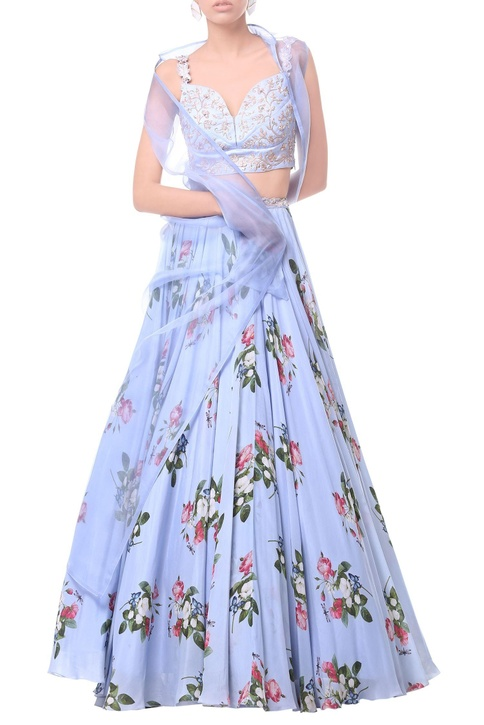 Powder blue long sheer jacket with sheer bustier & flared skirt