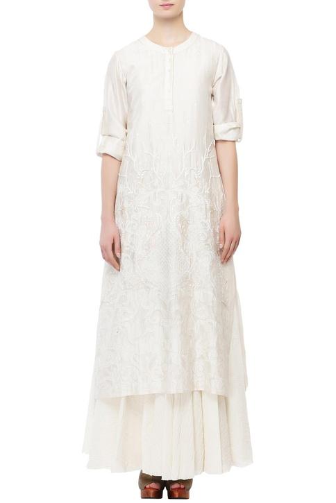Ivory cotton silk thread patch work kurta with inner