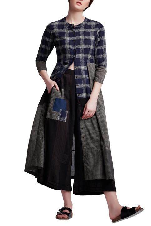 Multi-colored cotton regular chequered tunic
