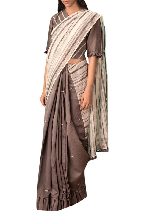Grey chevron embroidered cotton saree blouse